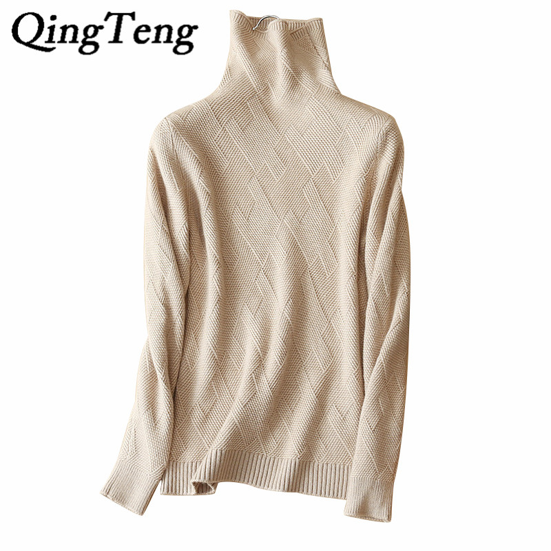 QingTeng Women's Long Sleeve Turtleneck Warm Jacket Winter Autumn Real Pure Cashmere Knitted Winter Autumn Sweater Shirt Female