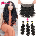7A Brazilian Virgin Hair Body Wave 3PCS Lace Frontal Closure with Bundles Brazilian  Body Wave 13x4 Human Hair with Lace Frontal