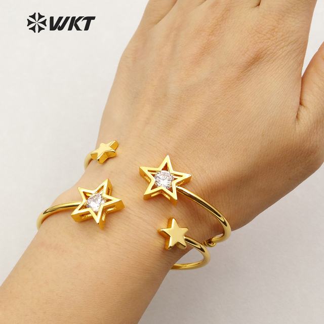 WT B367 Wholesale custom stars brass bracelet anti fading lady gold