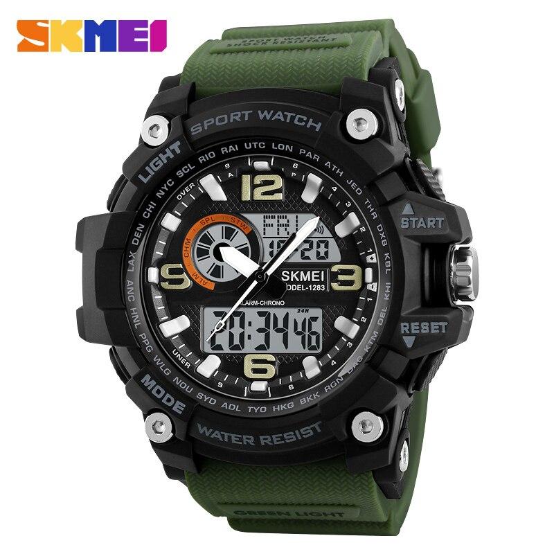 SKMEI Sports Watches Men Fashion Multi-function Chronograph Digital Quartz Dual Display Wristwatches Relogio Masculino XFCS