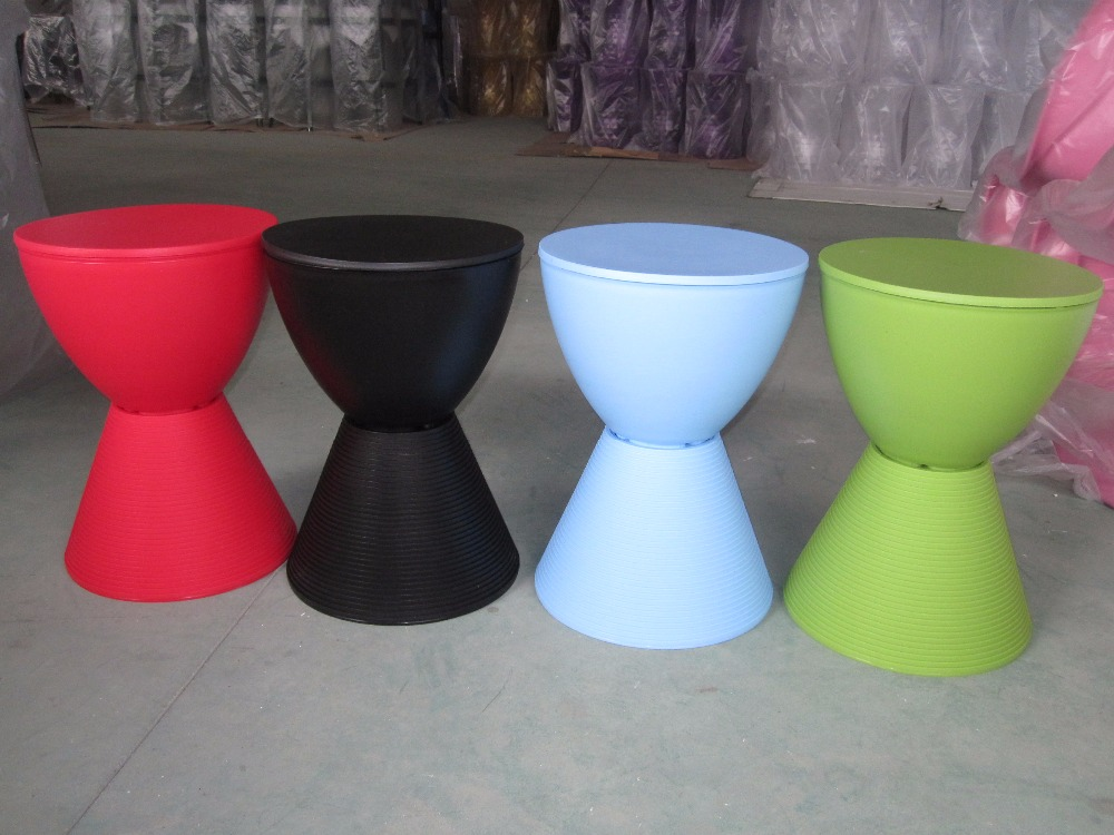 Design moderno di vendita calda di plastica rotondo lato sgabello