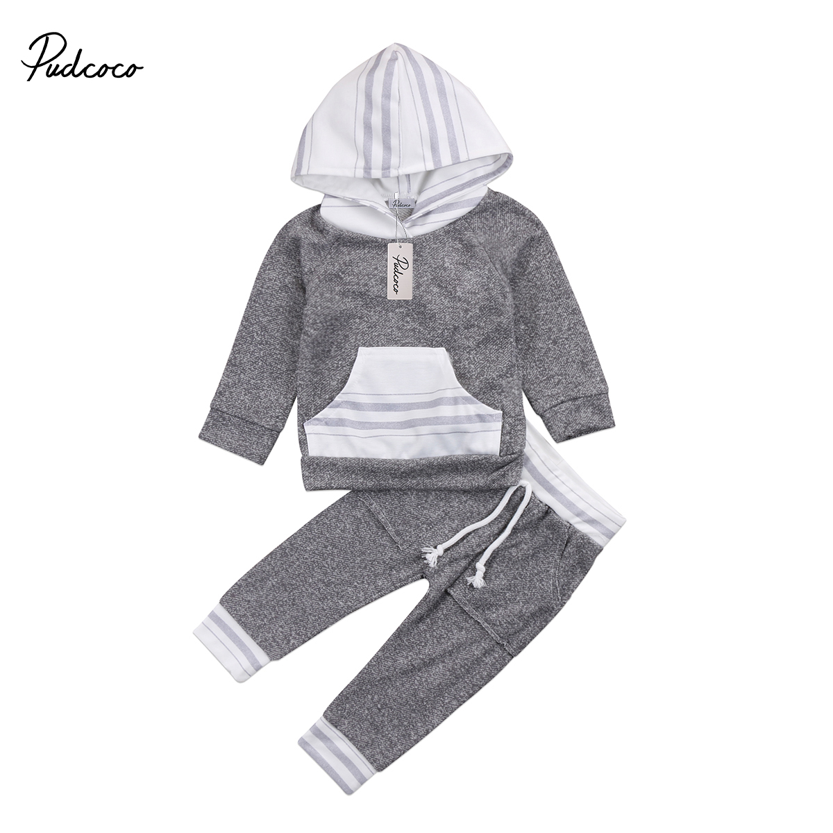 2pcs Baby Clothing Newborn Kids Baby Boy Long sleeves Hooded Sweater Tops Pants Kids Baby Boys Casual Outfits Set Clothes 0-4T