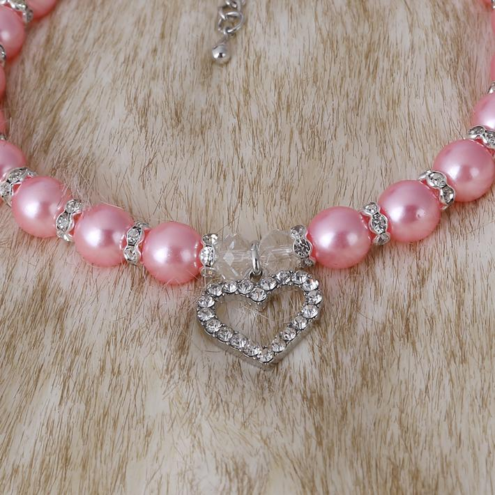 Lovely Pot Type Pet Necklace With a Peach Heart Pendant Pearl Dog Cat Jewelry Necklace S M L Free Shipping