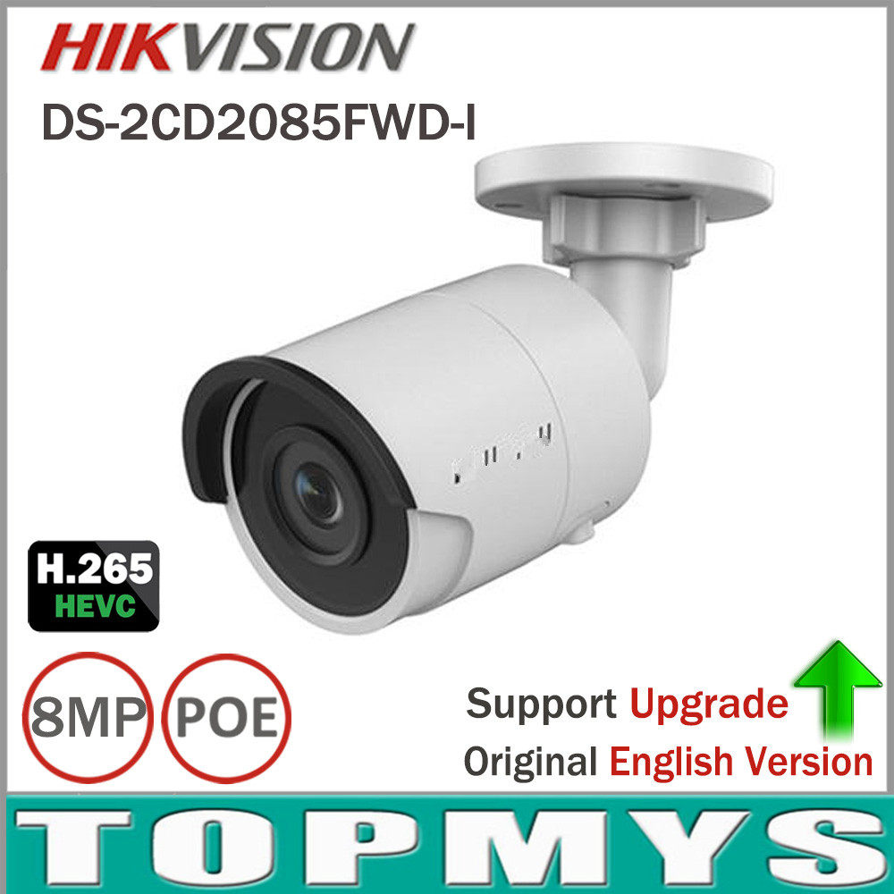 Free Shipping 8mp CCTV Camera Updateable DS-2CD2085FWD-I IP Camera High Resoultion WDR POE Bullet CCTV Camera With SD Card Slot hd 2mp h 265 home security ip camera surveillance bullet network cctv camera wdr poe high resoultion with sony291 chipset