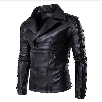 2018 Man Multi-Zipper Drawstring Sleeve Leather Jackets PU Jaqueta Masculinas Jacket Men Black Motorcycle Leather Jacket