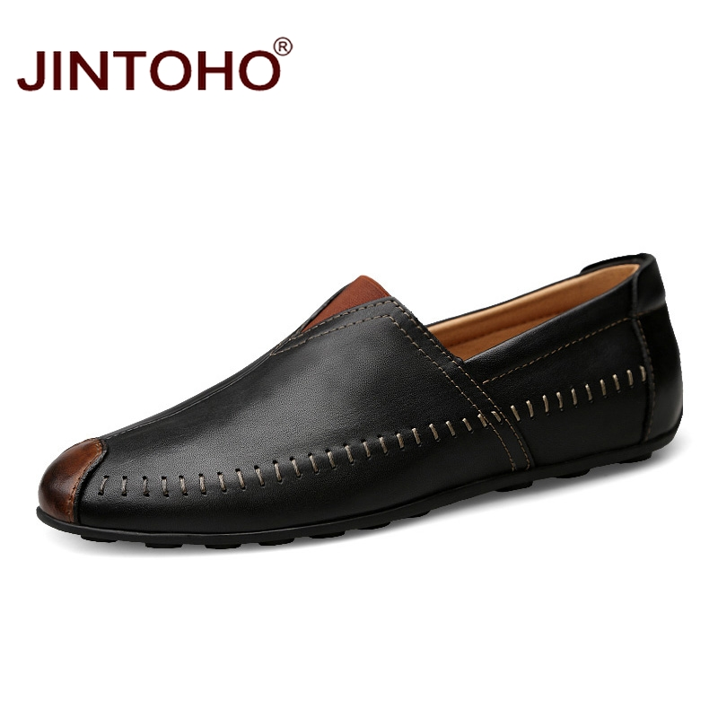 JINTOHO Big Size Man Genuine Leather Shoes Brand Men Casual Shoes Leather Men Flats Adult Male