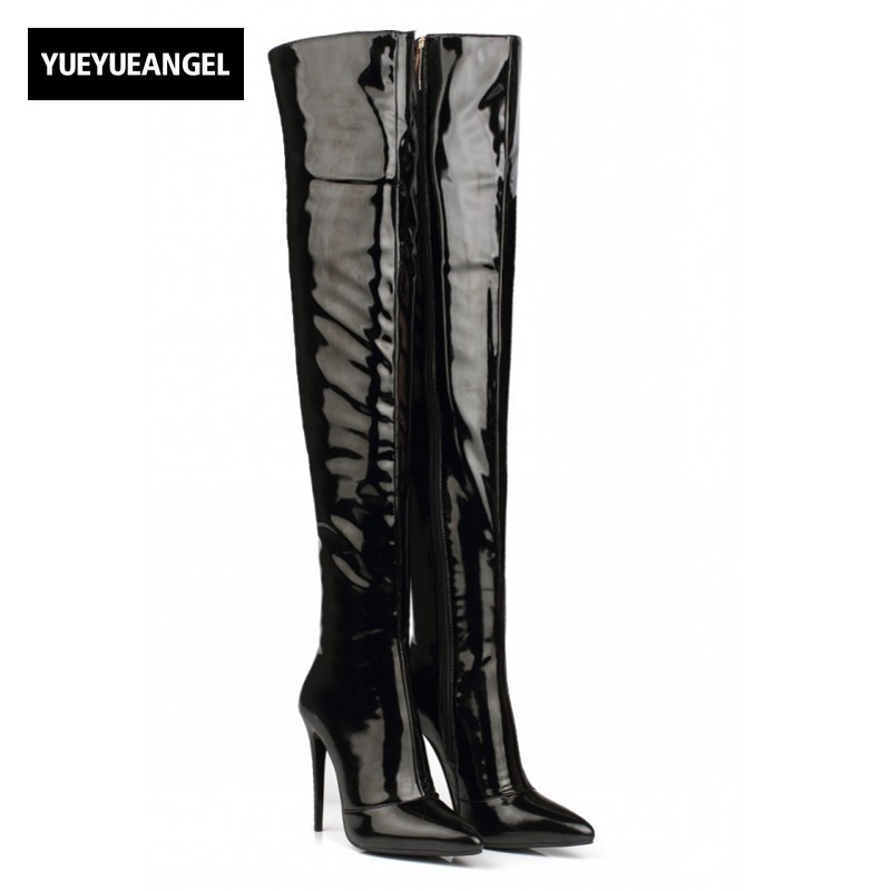 2017 Autumn Sexy Womens Shoes Over Knee Boots Patent Leather High Heels Pointy Toe Side Zip Thigh High Pole Dancing Shoes Black hot boots women sexy black thigh high boots peep toe soft leather back zip high heels over the knee boots gladiator sandal boots