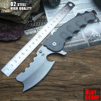 LCM66 tactical Folding knife D2steel Shaver Camping Outdoor Survival Knives Hunting Tools Very Sharp Cold tool steel fruit knife