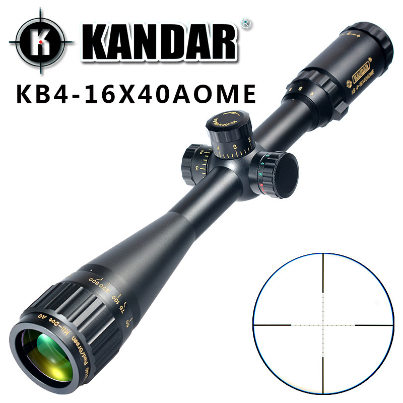 KANDAR Gold Edition 4-16x40 AOME Glass Etched Mil-dot Reticle Locking RifleScope Hunting Rifle Scope Tactical Optical Sight kandar 6 18x56q front tactical riflescope big objective with glass plate riflescope military equipment for hunting scopes