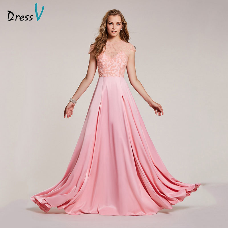 Dressv pink evening dress cheap scoop neck a line beading cap sleeves floor length wedding party formal dress evening dresses-in Evening Dresses from Weddings & Events