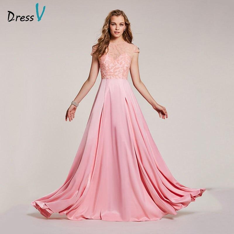 Dressv pink   evening     dress   cheap scoop neck a line beading cap sleeves floor length wedding party formal   dress     evening     dresses