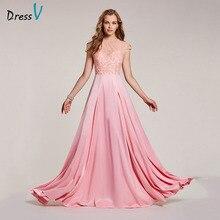 Dressv vestido de noite rosa barato, vestido formal de noite decote a linha com miçangas e mangas para noite