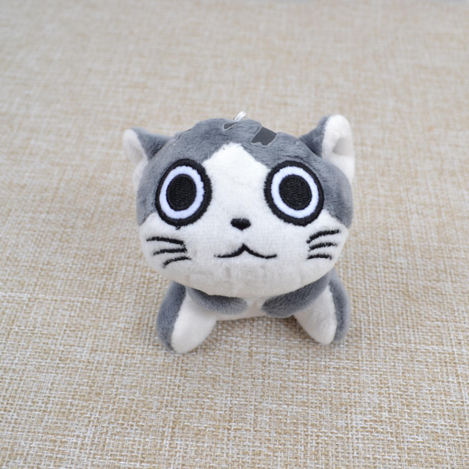 Kawaii серый сидя 9 см кошка плюшевые мягкие игрушки, букет подарок мягкая плюшевая кошка кукла, брелок с котом плюшевая игрушка цветок кошка кукла подарок - Цвет: B 9cm