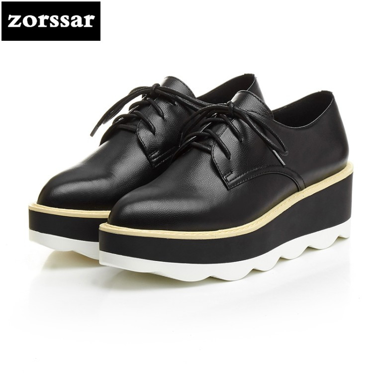 {Zorssar} 2018 New Genuine Leather female shoes casual pointed toe Wedges platform High heels pumps shoes fashion women shoes nayiduyun women genuine leather wedge high heel pumps platform creepers round toe slip on casual shoes boots wedge sneakers