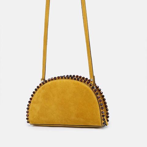 Half Moon Womens Bag PU Leather Luxury Handbags Designer Saddle Bag 2019 New Ins Beaded Scrub Females Shoulder Messenger Bags Pakistan