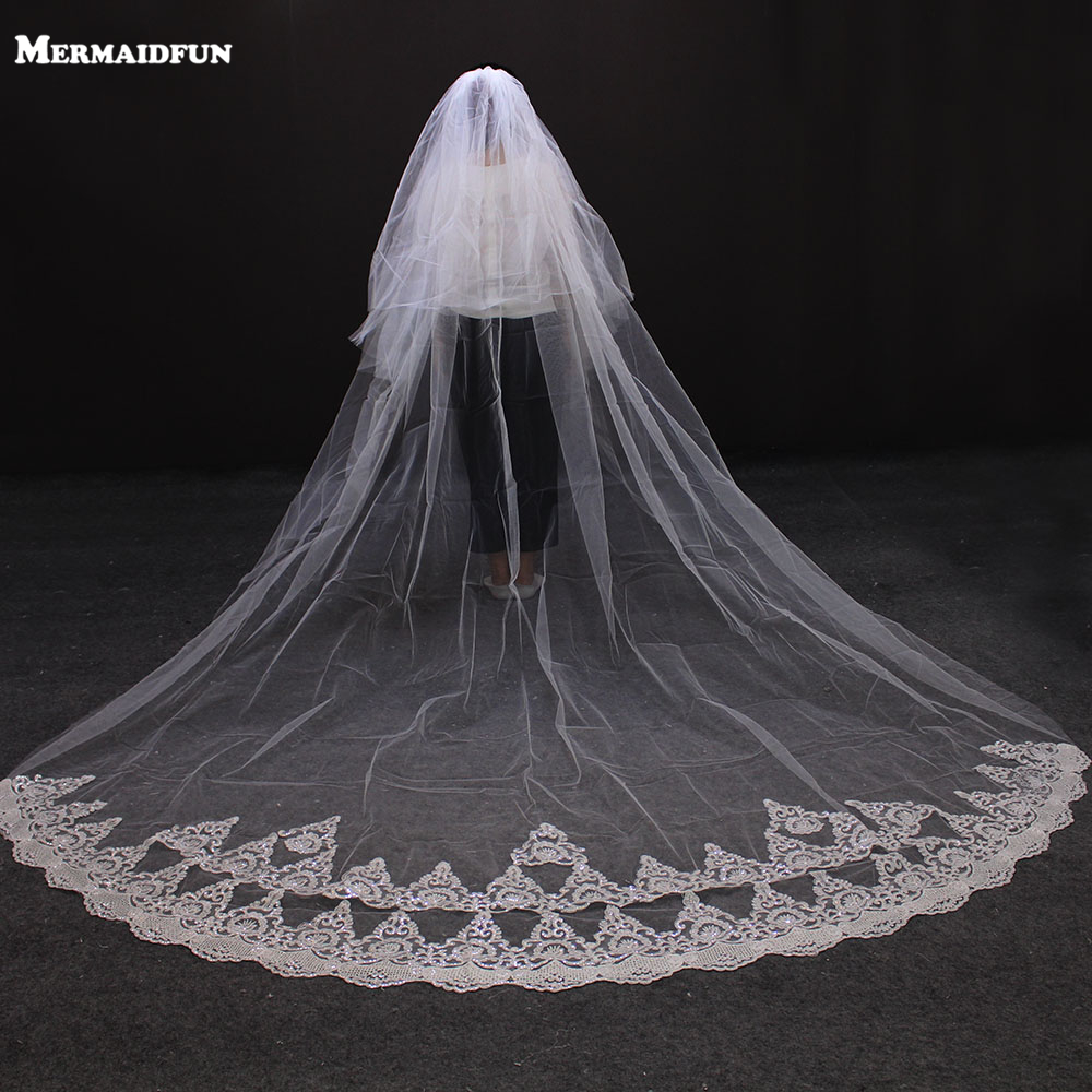 2017 New Arrival Sequined Lace Edge 2 Layesr Beautiful Wedding Veil with Comb 3 Meters 2