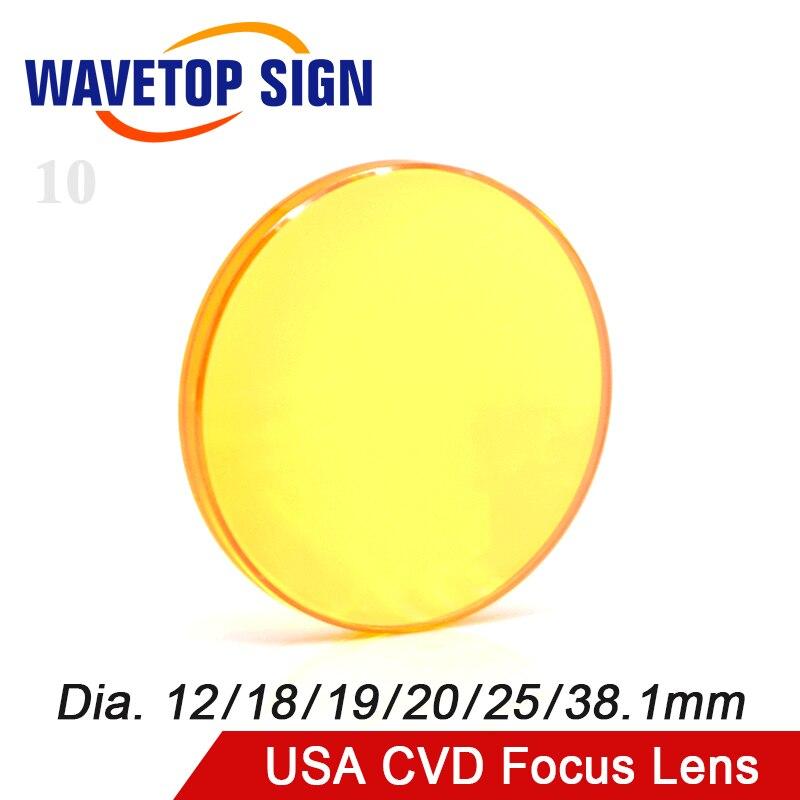 Lente de foco EUA CVD ZnSe Dia 12 15 18 19.05 20 25 FL 38.1 50.8 63.5 76.2 101.6 127 milímetros para CO2 Laser Engraving Máquina De Corte