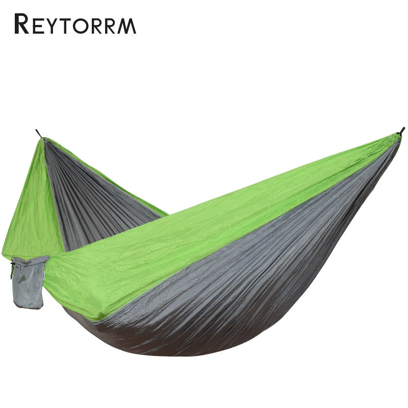 Portable Parachute Cloth Fabric Camping Hammock Outdoor Ultra-Large Double Person Survival Leisure Hanging Nylon 300*200cm 300 200cm 2 people hammock 2018 camping survival garden hunting leisure travel double person portable parachute hammocks