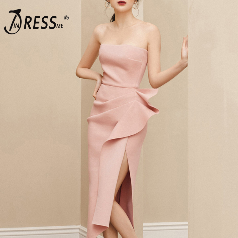 INDRESSME 2019 New Women Bodycon Dress Off Shoulder Irregular Bow Cut Out Split Sexy Party Mid