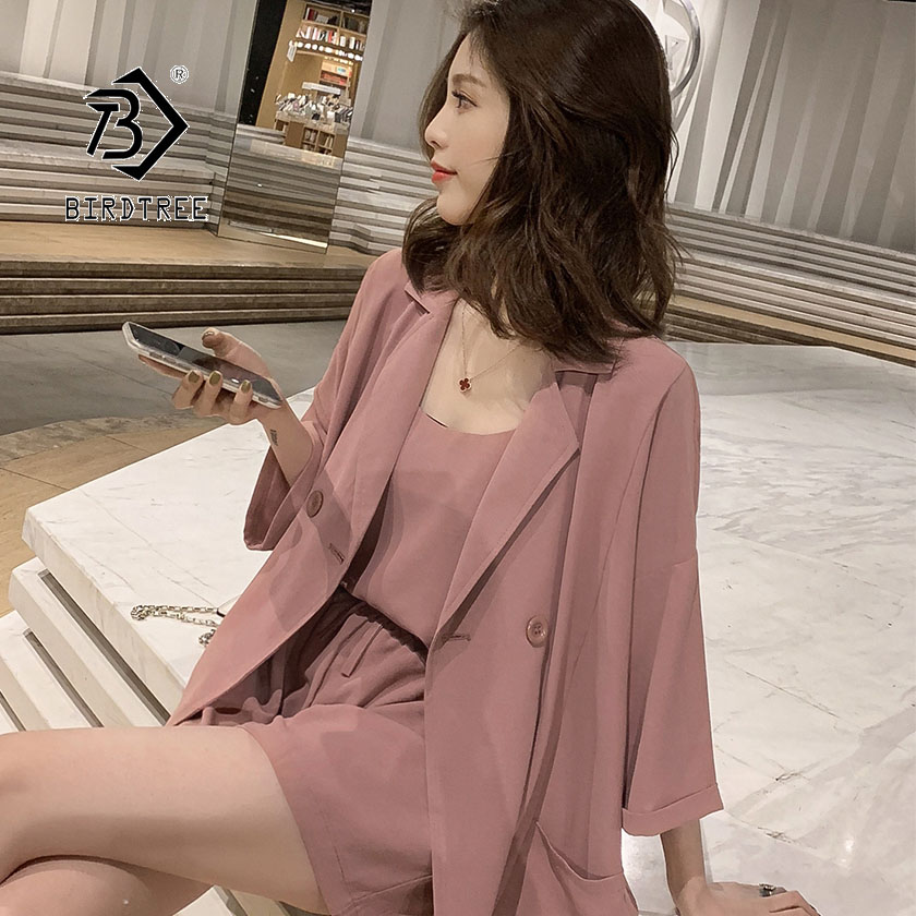 2019 Summer Women's Shirt Short Pant Suit Korean Chiffon Casual Simple High Waist Female Fashion Three-piece Hot Sale S96613D