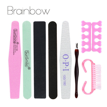 8Pcs/Set  Professional Manicure Tools Set&Kit Nail File Buffer Sanding File Polishing Brush Dead Skin Fork Foam Finger Separator