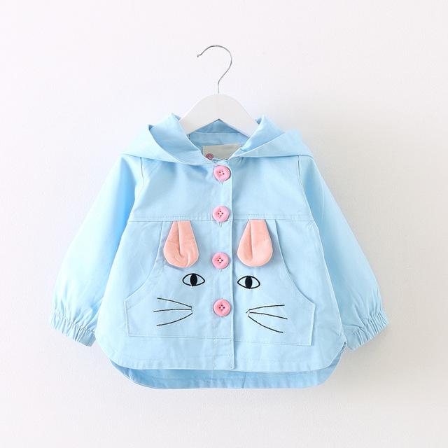 Moda primavera otoño chicas de dibujos animados doble botonadura Cardigan bebé infantil niños encapuchados abrigo niños Outwear abrigos Trench