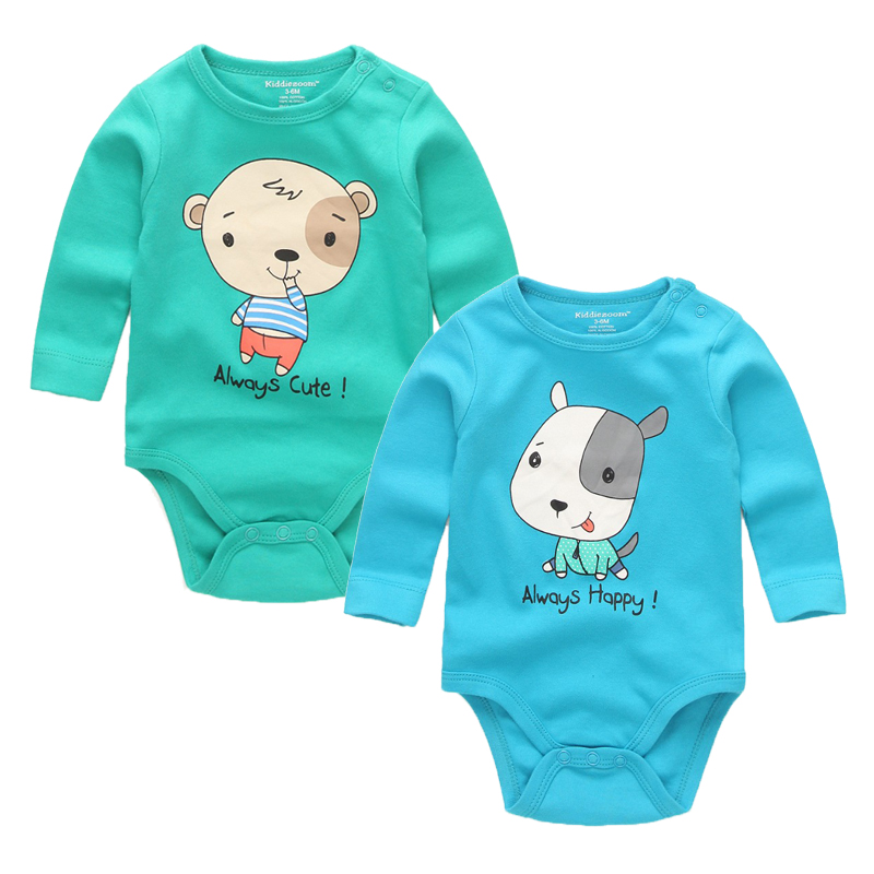 Cute 3D Cartoon printing O-neck cotton rompers  Jumpsuit Novelty soft full long sleeve infants for baby 3 6 9 12 18 24M baby rompers o neck 100
