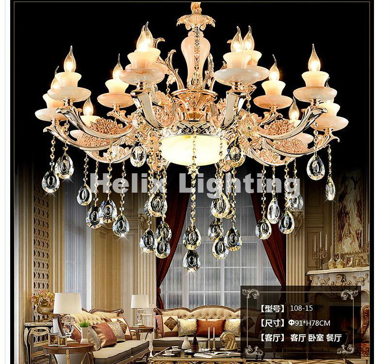 купить Free Shipping New Luxury Jade Gold LED Crystal Chandelier Lighting Fixtures With 6L/8L/10L/15L/1W/2W For Living Room Lighting по цене 4523.19 рублей