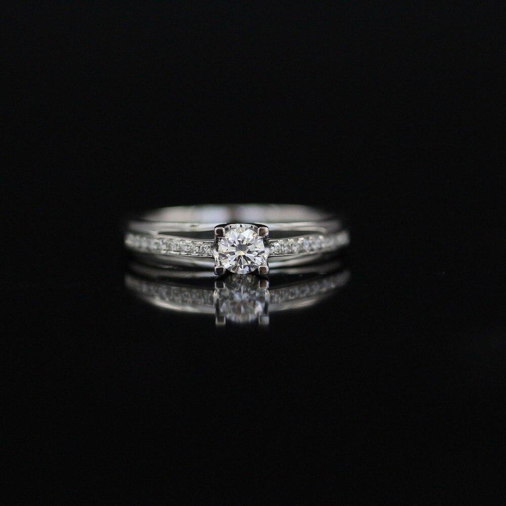 LASAMERO 0. 192 CT DE/VS Round Cut Modern Design Natural Diamond Ring For Women 18k White Gold Certified Engagement Wedding Ring