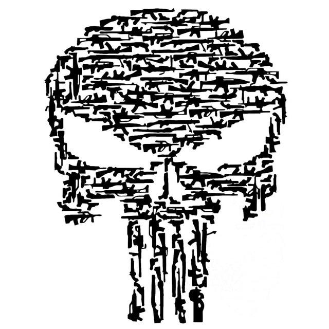 14 8cmx19cm punisher skull gun vinyl motorcycle decals car sticker black silver c1 3167
