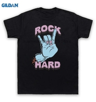 GILDAN 100 Cotton O Neck Printed T Shirt Rock Hard T Shirt Heavy Metal