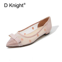 8975a7300 2019 Spring Summer Women Ballet Shoes Flats Mesh Breathbale Moccains Women  Boat Shoes Polka Dot Ballerina