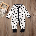 Winter Warm Cotton Newborn Baby Girl Boy Clothes Zipper Heart comfortable Print Long Sleeve Romper Jumpsuit Playsuit Outfits