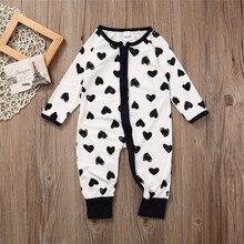 Winter Warm Cotton Newborn Baby Girl Boy Clothes Zipper Heart comfortable Print Long Sleeve Romper Jumpsuit Playsuit Outfits
