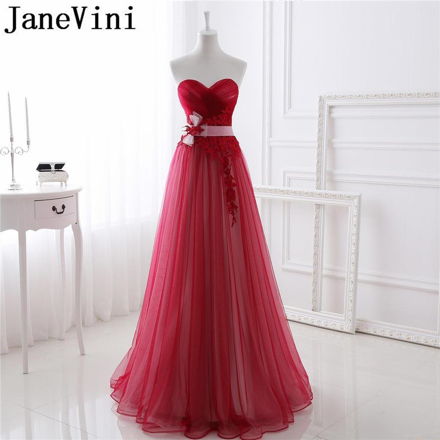 JaneVini Red Tulle Long   Bridesmaid     Dresses   A Line Sweetheart Lace Appliques Floor-Length Elegant Formal Prom Gowns Jurken Lang