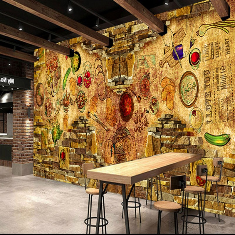 цены Photo wallpaper Custom Restaurant Background Wallpaper Vegetable Food Brick Wall Oil Painting Mural Bar Kitchen Decorative mural