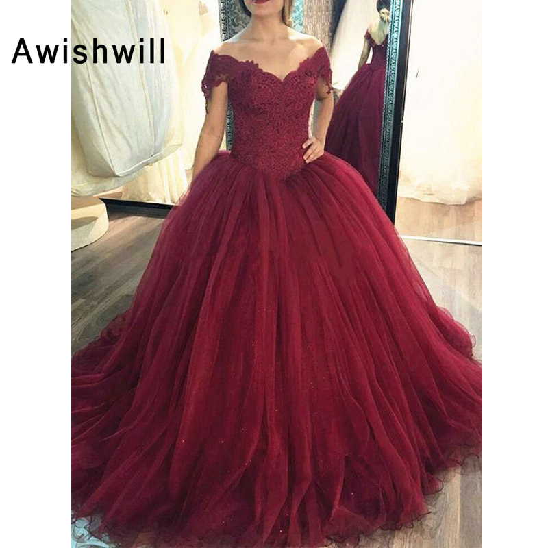 Clever Custom Made Cap Sleeve Lace Tulle Burgundy Quinceanera Dress Ball Gowns Formal Party Dress Vestido De 15 Anos De Debutante Sufficient Supply
