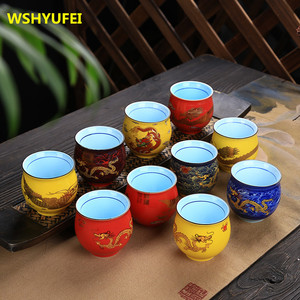 2PCS/LOT Tea set retro kung fu tea set chip tea cup double insulation and anti-hot home Coffee cups Chinese dragon Drinks