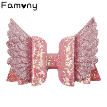 4 Glitter Layered Hair Bows Rainbow Wings Bling Mini Bow Double Clip For Children Girls Lovely Hairpins Accessories