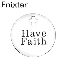 Fnixtar Religious Round Charms Stainless Steel Cross Hole Full Polished Laser Lettering Pendants for Christianity 10 Piece/lot