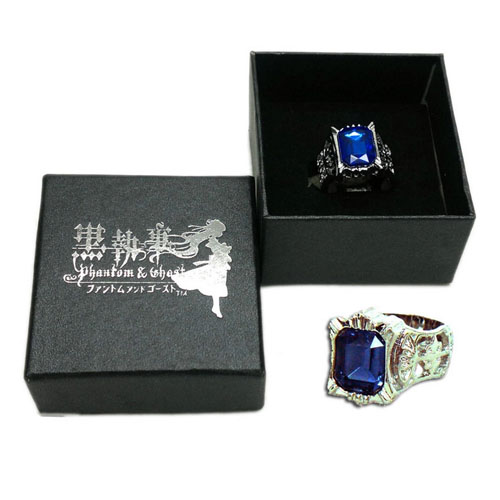 Anime Black Butler Ring Ciel Phantomhive Blue Crystal Ring Black Butler Cosply Costume Props