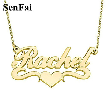 цена на Customized Any Font Any Name Necklace Gold Love Heart Monogram Initials Pendants Necklaces For Women Men Girls Special Momories