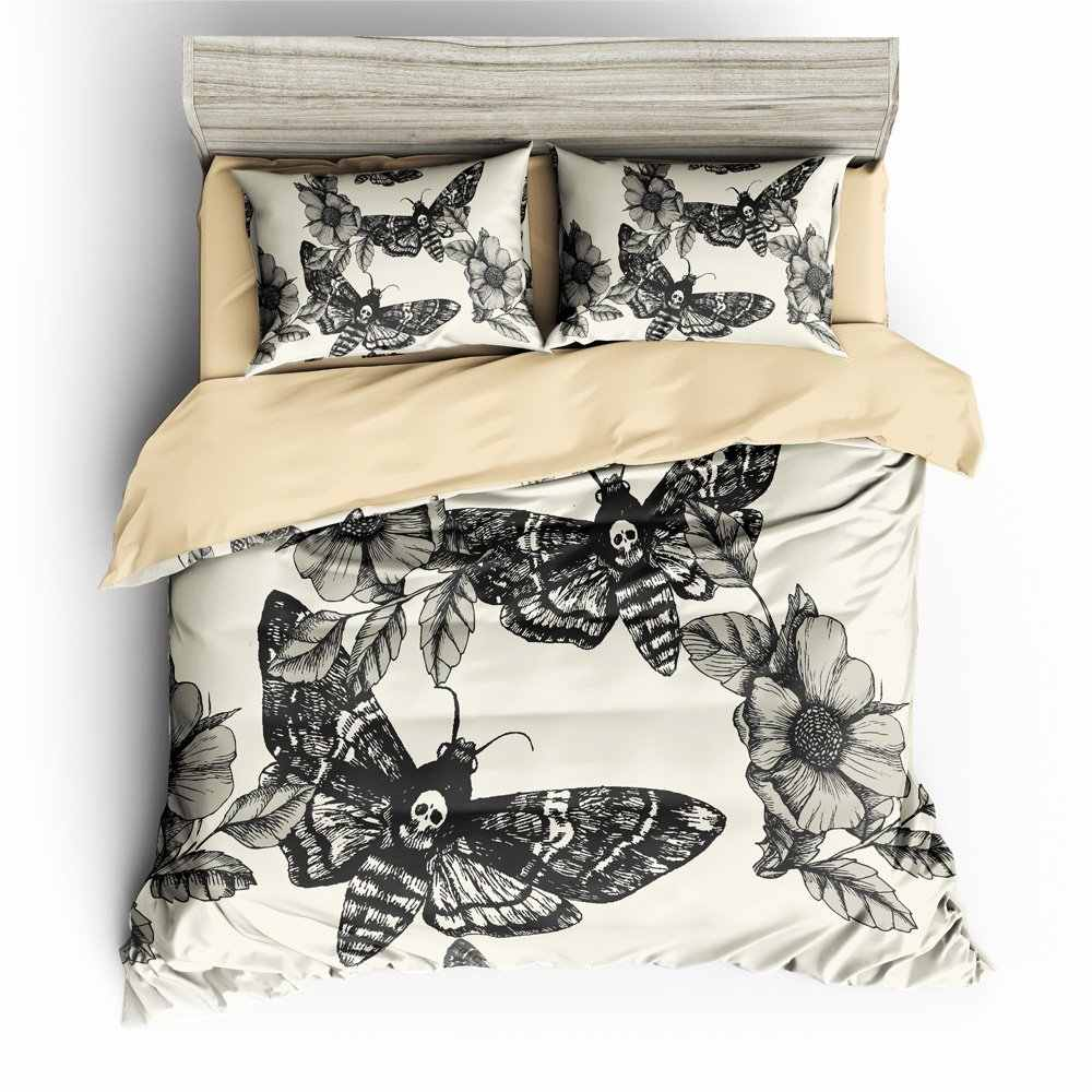 3D Digital Printing Hand-painted Head Hawk Moth and Flowers  Duvet Cover Sets