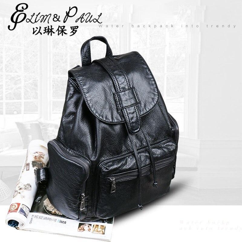 ELIM PAUL New Travel Backpack Korean Women Backpack Leisure Student Schoolbag Multiple inside Soft PU Leather