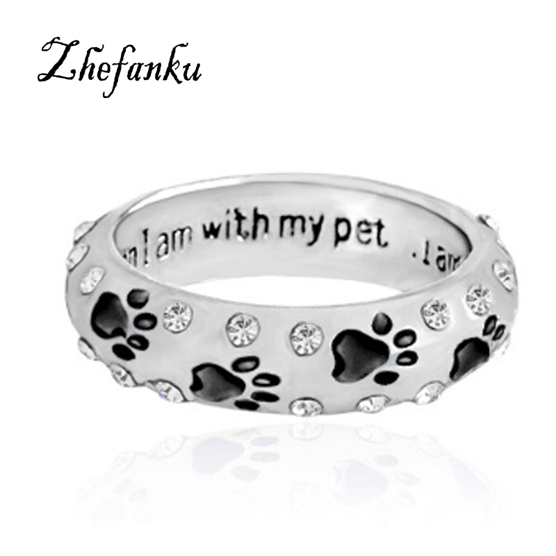1 StÜck Hund Klaue Kristall Ring Für Frauen, Wenn Ich Mit My Pet Tier Haustier Ring Hund Pfote Fußabdrücke Ring Schmuck