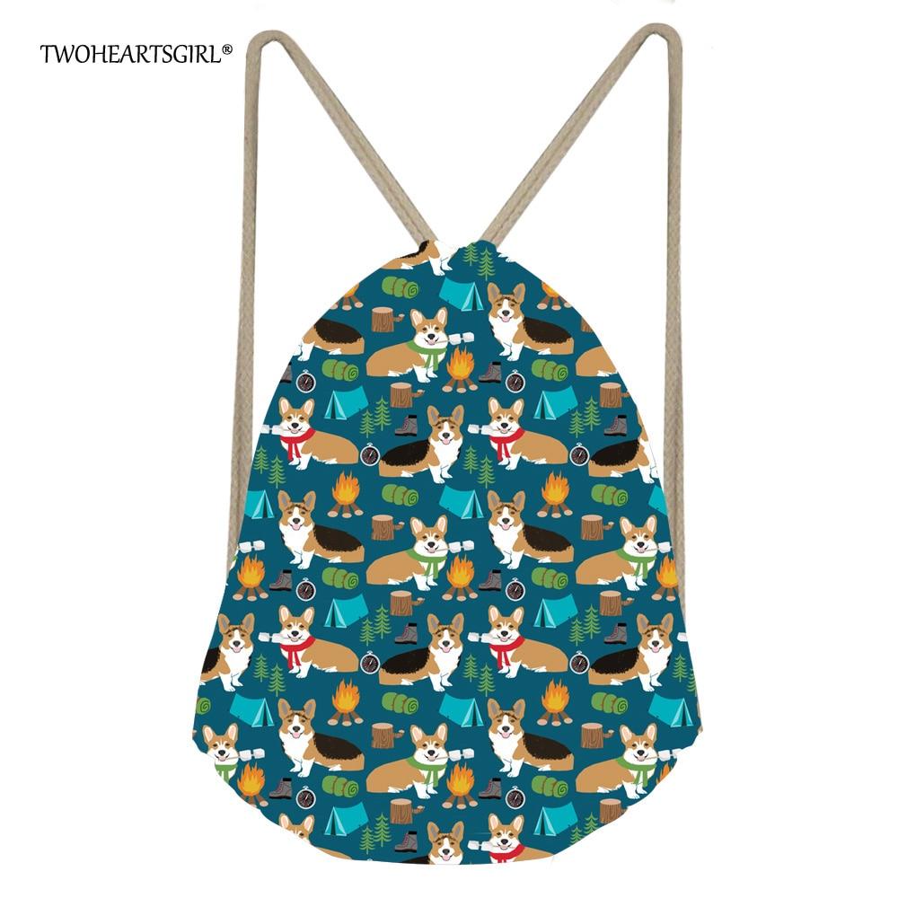 TWOHEARTSGIRL Funny Floral Corgi Dog Travel Drawstring Bags Kawaii Women Girls Storage Backpack Daily Kids Beach Rucksack