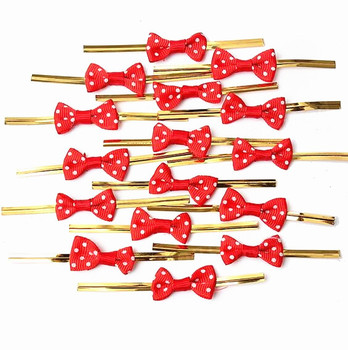 500pcs Free shipping Metallic Polka Dot Twist Wire Tie With Bow Candy Cookie Cake Bag