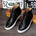 Microfiber shoes US size 8.5 designer vintage boots man shoes round toe handmade black red golden silver 2017 sping inner height