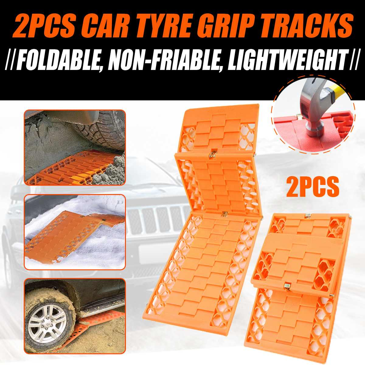 2Pcs/Set Tyre Grip Tracks Car Security Snow Mud Sand Rescue Escaper Traction Tracks Mats Folding Rubber Car Rescue Mats(China)