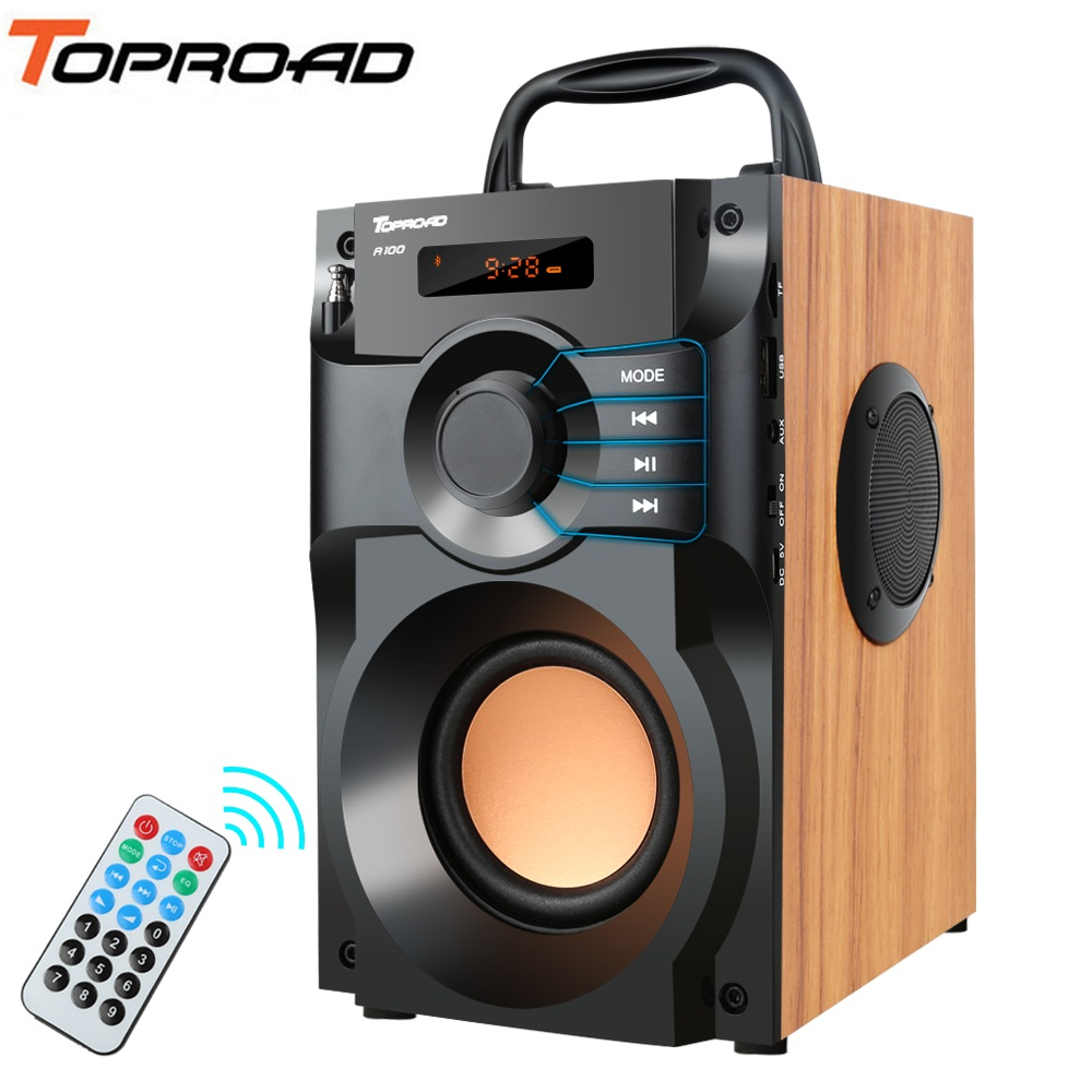 Портативная Bluetooth Колонка TOPROAD, беспроводная стереоколонка с сабвуфером, басовая колонка с поддержкой fm-радио, TF, AUX, USB, дистанционное управл...